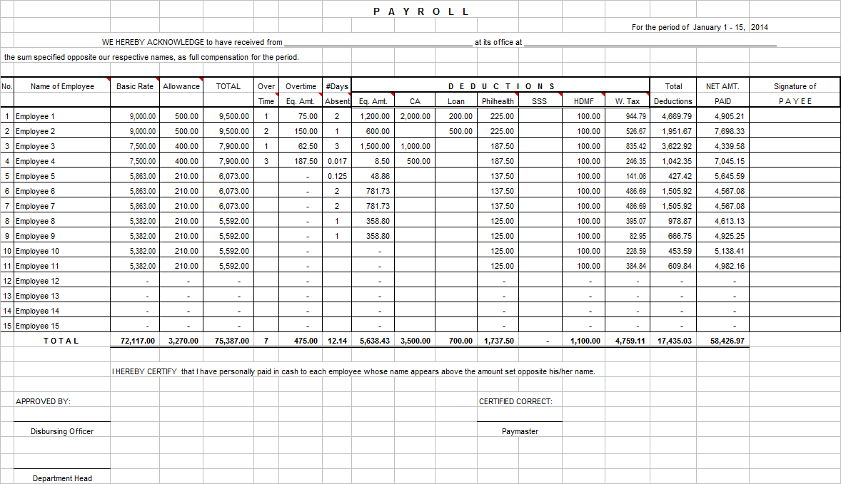 Payroll System in Excel for 30 or less Employees